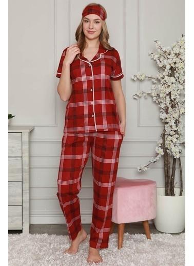 Akbeniz Kadın %100 Pamuk Önden Düğmeli Kısa Kol Pijama Takım 2806 Bordo